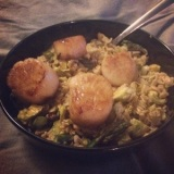 Healthy Recipe: Savory Oat Risotto with Maple Roasted Veggies & Sea Scallops